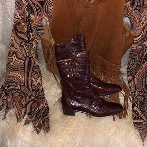 Via Spiga Brown Nine West Croc Embossed Boots